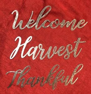 Metal Thankful Harvest Welcome Spell Out Word Script Sign Farmhouse Wreath Craft