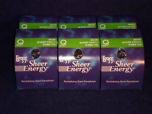 Lot Of 6 Pair L'eggs Pantyhose Sheer Energy  Size Q Sheer Panty Navy       QSE-1