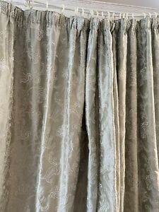 JAMES HARE Ambi Silk Green Grey Embroidered Paisley INTERLINED Quality Curtains