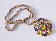 "Vintage colorful glass rhinestone pot metal pendant, interesting 18"" chain. Old."