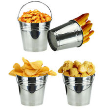 12x Kitchen Fry Mini Silver Serving Buckets Chips Food Storage Plant Pots UK