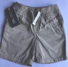 NWT Toddler Boys Cherokee Khaki Shorts 18m Faux Drawstring Cotton Casual NEW