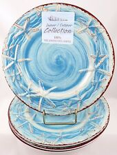 Indoor Outdoor Collection 4 aqua blue starfish melamine salad side lunch plates