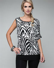 """NEW 3X 2X 50"""" Black White Batwing Dolman & COLD Shoulder Sleeve Tunic Blouse Top"""