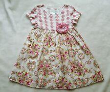 B BABY LULU Fleur Royale Dress 4 4T French Pink Green White Paisley Roses vtg