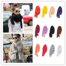 Women Lightweight Linen Crinkle Long Soft Scarves Wrap Solid Shawls Scarf Casual