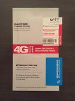 -> NET10 VERIZON DUAL SIM CARD - UNLIMITED SERVICE, STANDARD AND MINI SIZE