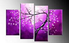 PURPLE CANVAS FLORAL BLOSSOM TREE 4 PANEL SPLIT WALL ART PICTURE MULTI  40""