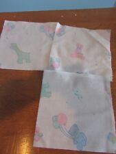 """New listing lot of 20 quilt squares pink/blue bears bunny girafee 6x6"""" cotton fabric"""