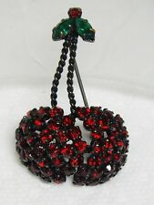 Vintage Japanned Red & Green Rhinestone Crystal CHERRY CHERRIES Brooch~AUSTRIA
