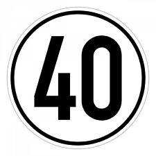 Geschwindigkeitsschild, Geschwindigkeitsaufkleber 40 kmh 20cm nach § 58 StVZO -