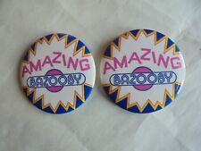 2 Cool Vintage Amazing Bazooby Vests? Advertising Pinback Buttons
