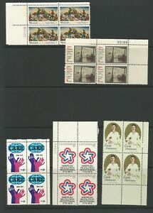 United States 1971 A selection Of Blocks Of 4 With Plate Numbers Mounted Mint