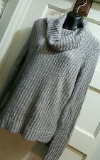 DKNY Gray Sweater Pink Stripes Cowl Neck Women Sz S Pullover New WT