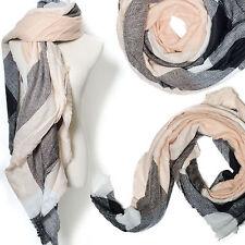 XXL Tuch Schal Damen CAPE Poncho Style Strickschal Winterschal Kariert Rosa Grau