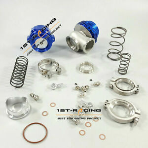 50mm Blow Off Valve BOV&MVR 44mm V-Band External Wastegate 14PSI Springs Blue
