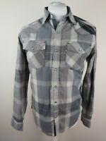 Mens Levis Pearlsnap Western Check Shirt Small Grey Plaid 38-40 Chest Cowboy