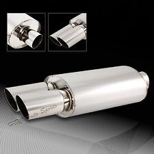 "3"" Dual Slant Tip Stainless Steel 2.5"" Inlet Weld-on Exhaust Muffler Universal 1"