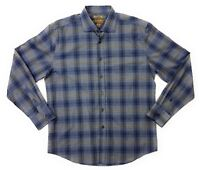 Pronto Uomo Blue Mens Long Sleeve Button Shirt L Large Slim Fit Blue Black Gray