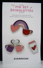 STARBUCKS NEW 2017 HTF SET OF 4 ENAMEL VALENTINE COFFEE CUP PIN ** SOLD OUT **