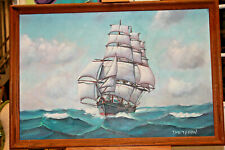 "Ellery Thompson ""Cape Horner Clipper""1970  Oil on Board Personal Collection"