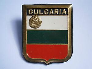 VINTAGE BRASS ORDER BADGE BULGARIAN CAR BUMPER FLAG SIGN COAT OF ARMS 1960's