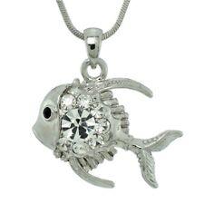 "FISH W Swarovski Crystal Aquarium Ocean Sea Charm Pendant Necklace 18"" Chain"
