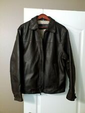Chaps by Ralph Lauren Men's Brown Heavy Leather Bomber Jacket  - Size L