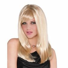 Dames Long Blonde cheveux raides perruque fashion Fancy Dress Party Cosplay Costume