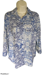 White Stag Women's Small Blue & White Paisley Long Sleeve Blouse