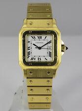 Cartier santos señores reloj pulsera 18 quilates dorado Automatic ORIG. box + papeles