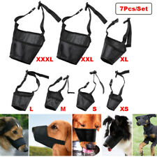 7Pcs/Set Adjustable Anti Biting Chewing Barking Pet Dog Muzzle Mouth Mask Cover