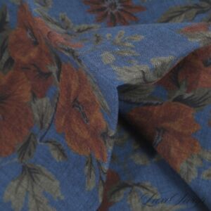 NWOT Made in Italy 100% Wool Murky Ocean Blue Romantic Floral Pocket Square #3