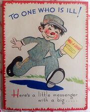 Vintage 1940s Gray Flocked Get Well Card with Cute Messenger Boy in Hat