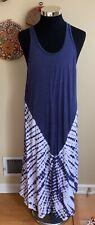 Spiritual Gangster Sunset Size M Blue Tie Dye Racerback Knit Maxi Dress