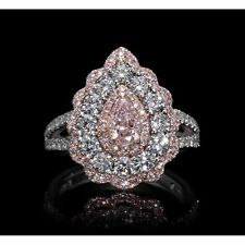 Pink sparkly pear beautiful halo engagement ring solid 10k white gold split shan
