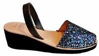 Avarcas menorquinas GLITTER CUÑA 5cm heel taco real sandals menorca spain abarca