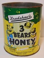 Old Vintage 1949 BRADSHAW HONEY 3 BEARS GRAPHIC ADVERTISING TIN WENDELL IDAHO ID