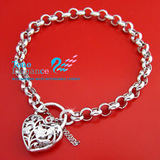 18k white gold GF heart padlock  belcher chain solid women bangle bracelet