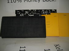 $570 NEW FENDI Black FF Coated Leather Checkbook Credit Cards Coin Purse Wallet