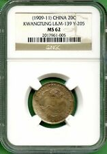 CHINA  1909-11    20 CENTS  KWANGTUNG  NGC MS 62   Y 205   LM 139
