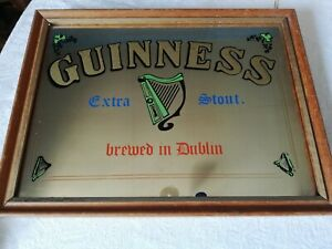 Rare vintage pub mirror Guinness Extra Stout brewed in Dublin harp man cave