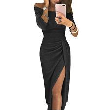 Damen Schulterfrei Langarm Abendkleid Partykleid Teilt Maxikleid Bodycon Kleider
