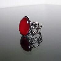 Ruby red gothic ring filigree victorian steampunk goth adjustable BELLA
