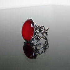 Ruby red gothic ring filigree victorian steampunk goth adjustable BELLA