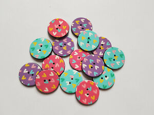10 x Printed Acrylic Buttons - Round - 25mm - Heart Pattern [Various Colours Ava