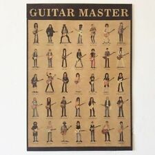 World Famous Guitar Master Vintage Wall Bar Decor 53 x 38cm Kraft Paper Poster