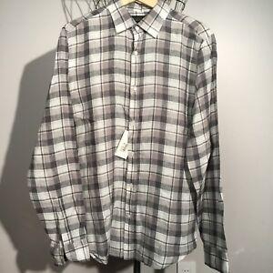 New BLOOMINGDALE'S $98 Grey Plaid Linen Shirt MEDIUM Men's Store Regular Fit