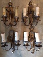 BB1 Antique Wall Sconces, Lot Of 4,  Brass/White Metal