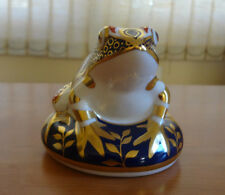Royal Crown Derby English Bone China Frog Paperweight w/Silver Stopper